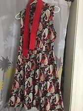 Voodoo Vixen Red Floral Paisley Sleeveless Summer Dress XL - Retro - Rockabilly