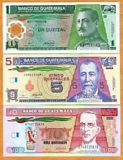 Guatemala, SET, 1;5;10 Quetzales, 2006-2012, P-NEW, UNC