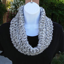 SUMMER COWL SCARF Light Grey Gray & White Small Handmade Crochet Knit Infinity