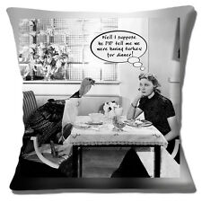 """MESSAGE Funny Turkey Dinner Woman ADD YOUR OWN message 16"""" Pillow Cushion Cover"""
