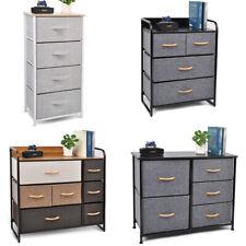 Drawer Dresser Bedroom Storage Fabric Furniture Modern Clothes Cabinet, Wood Top