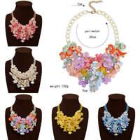 Charm Woman Crystal Flower Pendant Chain Statement Bib Chunky Choker Necklace