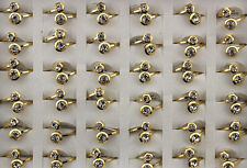 Newest Charm Lots 27pcs Stainless Steel Double Rhinestone Women Gold Band Rings