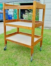 More details for huge industrial oak three-tier school catering / library trolley~leicester c.c.