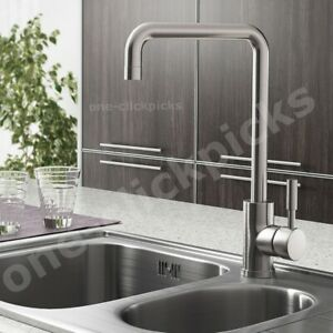 Modern Kitchen Sink Mixer Tap Swivel Spout Single Lever Taps Mono Steel Faucet