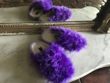 Purple Marabou Feather Slippers Sz 5/6 Comfy Cute Sexy closed toe Fun Fuzzy