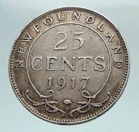 1917 CANADA UK King George V Newfoundland Genuine SILVER 25 CENTS Coin i79622