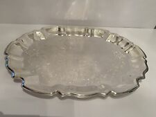 NIB International Silver Co Footed Serving Tray With Handles
