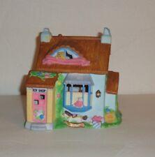 Easter Bunny Village Toy Shop Porcelain Light Up Piece 2 Story Euc