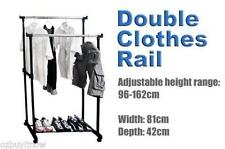 Portable Multi-Function Metal Double Rail Clothes Ironing Storage Hanging Rack