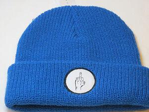 Vibetown beanie knit hat skull cap NEW RARE blue 040 bird middle finger **Spots