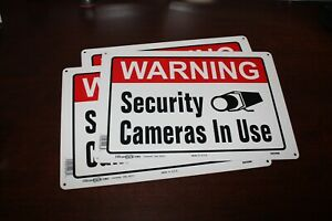 "WARNING SECURITY CAMERAS IN USE 3 SIGNS 10"" x 14"" Aluminum ( metal ) Hillman"