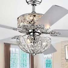 "Hegasal Chrome Dual Lamp-Fan Crystal Lighted Chandelier-52"" Diameter - Remote/"