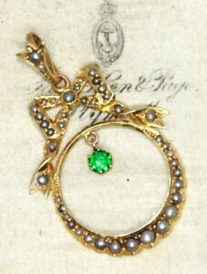 Stunning Victorian green stone & seed pearl swag bow pendant Antique Edwardian