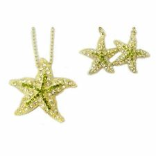 Rhinestones - Goldtone - Rsn2269-G Starfish Earrings & Necklace with