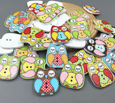25pcs Cartoon Eyes closed owl Wooden Buttons Sewing decoration scrapbooking 22mm