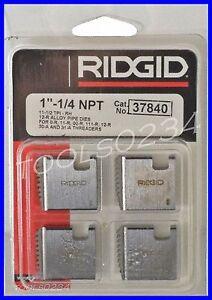 "1-1/4""-11-1/2 12R NPT Alloy Pipe Threading Dies Set of 4 USA Ridgid 37840"