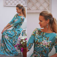 Women Floral Print Long Sleeve Boho Dress Ladies Evening Party Maxi Dress Size