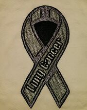 Lung cancer awareness motorcycle biker embroidered vest patch iron on