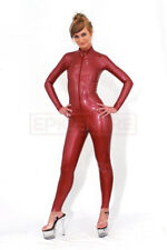 Classic Latex Rubber Catsuit. EASY-ON Chlorinated METALLIC COPPER RED 0.5mm