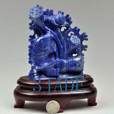 Natural Lapis Lazuli Lotus Koi Fish Statue Gemstone Carving Chinese Art