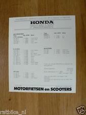H264 HONDA BROCHURE PRICELIST,PRIJSLIJST 1987 DUTCH 1 PAGES