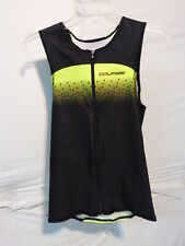 Louis Garneau Men's Tri Course Sleeveless Triathlon Top XS Black/Bright Yellow