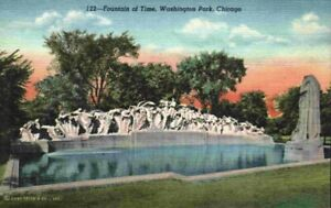 Fountain Of Time Washington Park Chicago Illinois IL Linen 1930s 1940s Postcard