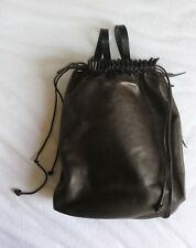 Delle Cose leather backpack in dark grayish brown and folds at the top