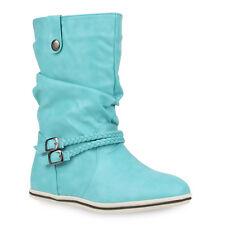 Damen Stiefeletten Schlupfstiefel Flache Übergangs-Schuhe 98206 Gr. 36-42  Schuhe d17286141f
