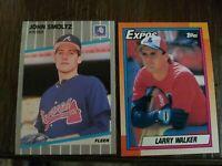 1989 Fleer RC #602 John Smoltz & 1990 Topps RC Larry Walker #757 - MINT