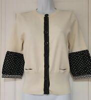 Womens Karen Millen Cream Black Polka Dot Silk Mix Knit Cardigan With Pockets 3.