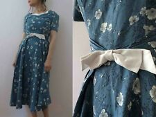 Vintage 50s 60s Duck Egg Blue Day Dress Small - Free Post for 3 + items