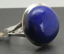 Lapis Lazuli Ring Round Sterling Silver UK Size Q, New, Actual One. UK.