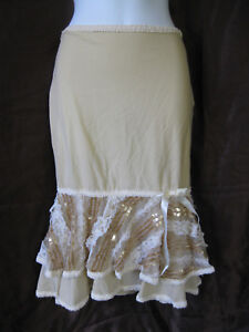 *Lip Service Femmes Folly Nude Beige Sequin Lace Knee Skirt Burlesque Noir XS