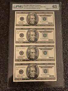 1996 $20 Star 4 Note Uncut United States Currency Sheet (L) San Fran PMG 63 EPQ