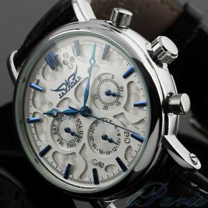 Luxury Men Automatic Mechanical Wrist Watch Leather Band Sport Self-Winding Date