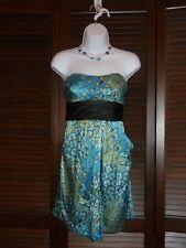 SPEECHLESS Strapless Satin Short Dress Black Sash Peacock Blue Floral Paisley, 3