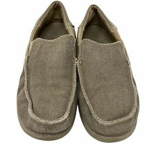Crocs Santa Cruz Khaki Boy's Canvas Loafers Comfort Shoes Size J2 2