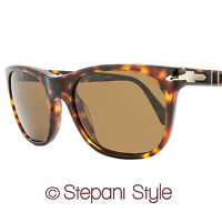 Persol Rectangular Sunglasses PO3102S 24-57 Size: 53mm Havana Polarized 3102