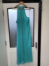 H&M Stunning Chiffon Turquoise beaded neckline Full Length Dress Fully Lined 14