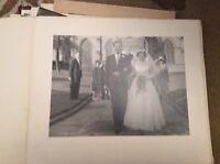 f1m Ea2 8x6 inch on card  bw photograph wedding father bride 1960s B