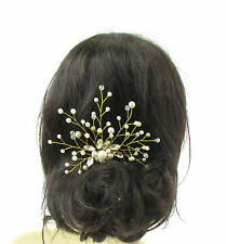 Gold Ivory Silver Diamante Pearl Bridal Vine Hair Comb Wedding Headpiece 2335