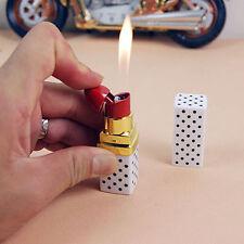 Lipstick Shape Butane Refillable Lipstick Windproof  Gas Lighter Cigarette White