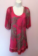 MONSOON PINK & GREY PRINT SILK SHIFT 3/4 SLEEVE DRESS SIZE 8