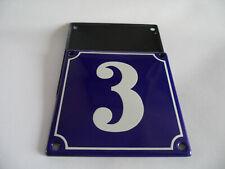 Old French Blue Enamel Porcelain Metal House Door Number Street Sign / Plate # 3