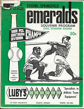 1970 Eugene EMERALDS v Spokane INDIANS Vintage PCL Minor League BASEBALL PROGRAM