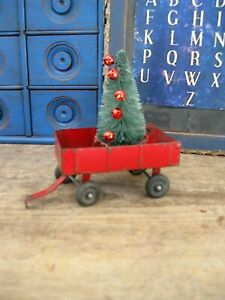 Antique Metal Ertl Toy Farm Wagon w Bottle Brush Christmas Tree
