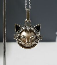 Silver & Gold Kitty Cat Harmony Chime Ball Pendant with chain