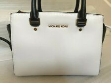 NWT MICHAEL KORS SELMA QUILTED MD SATCHEL White/Black